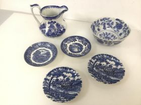 An assortment of blue and white transferware including a matching pair of Myott Royal Mail dishes