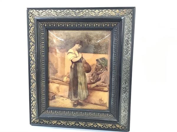 A late chrystoleum depicting Italian Musician and Female Figure in ebonised gilt frame (22cm x