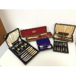 A collection of boxed Epns cutlery, including a Viceroy plate carving set, serving spoons, pastry
