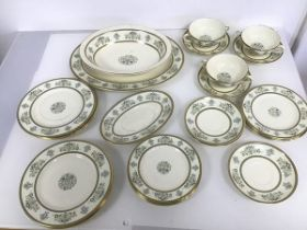 A collection of Minton Henley pattern china, including an ashet (34cm x 24cm), serving dish, three
