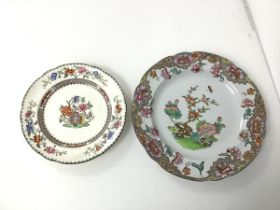 A 19thc Spode plate in Chinese rose pattern (d.19cm) and a 1840s Copeland & Garrett plate with