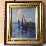 J.F. Slater (?), Harbour Scene, oil on canvas, signed bottom left (52cm x 42cm)