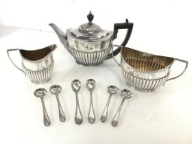A Goldsmiths Epns tea service, including teapot with urn finial and half lobed body (16cm x 24cm x