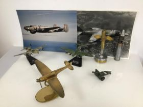 Aviation and Military interest: a group of models of WWII military aircraft including a brass