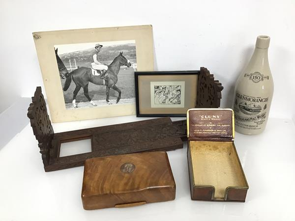 A mixed lot including an Anglo Indian bookslide, a cigarette box, a stoneware commemorative bottle