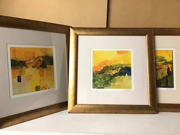 Holiday Magic I II and IV, modern prints, framed, paper labels verso (each: 28cm x 28cm) (3)