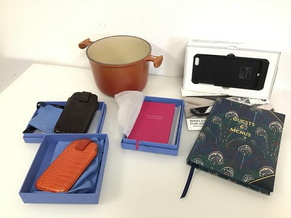 A mixed lot including a Liberty, London Guest and Menu book, a Smythson, London pink notebook, two