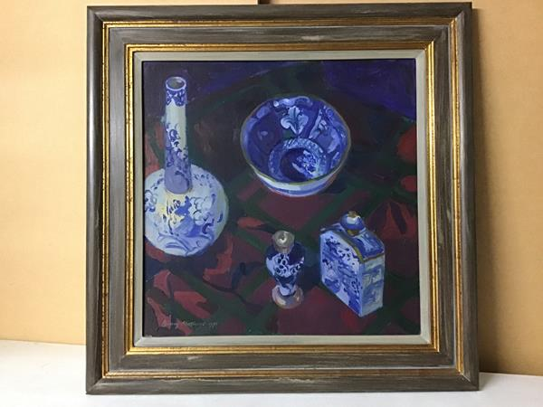 Binny Matthews, NEAC., Chinese Pots, oil on canvas, signed and dated 1991 bottom left (44cm x 44cm)