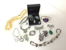 An assortment of costume jewellery including turquoise brooches, one in the form of a turtle,