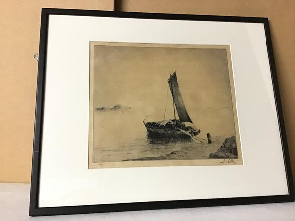 Continental School, An Italian Boat at Sunrise, limited edition etching, 24/95 (?), signed in pencil