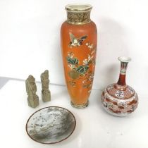An early 20thc Japanese baluster shaped vase with orange ground and bird and foliate decoration,