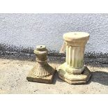 A composition garden pedestal in the form of a fluted column on octagonal base (36cm x 26cm) and