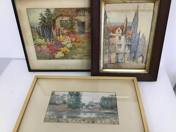 Nora Johnstone, Landscape with Lake and Buildings, watercolour, signed and dated 12th September '