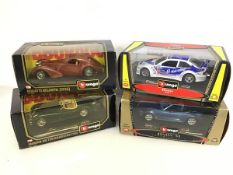 Bburago diecast model cars including a BMW M3, BMW M, Jaguar and Bugatti, all in original boxes