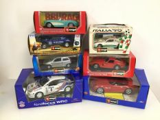 Bburago diecast model cars including a Ferrari, BMW, Ford Focus, Fiat, Buggy Schlesser, another