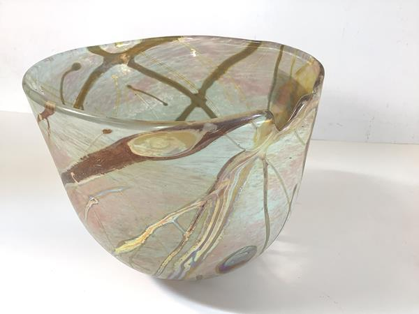 Siddy Langley (British, Contemporary), a studio glass vase, of cylindrical form, iridescent, with