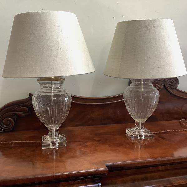 A pair of large brass-mounted glass urn-form table lamps, modern, the fluted and panel-moulded