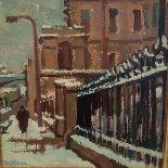 •Joan Gillespie (Scottish, b. 1954), Market Street, Edinburgh, signed lower left, oil on board,