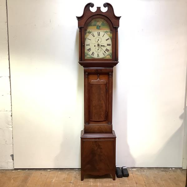 A Scottish mahogany longcase clock, 19th century, the painted arched dial signed Jas. McCulloch,