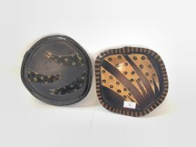 Margaret Struckmeier (Scottish. b. 1962), a pair of semi-earthenware plates, of irregular shape,
