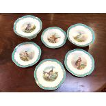 An unusual English 19th century partial dessert service, comprising a pair of tazzas and four
