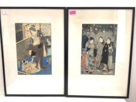 Utagawa Kunisada (Toyokuni III), a pair of woodblock prints, in inks and colours, one of three