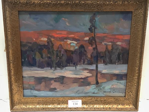 Hugo Carlberg (Swedish, 1880-1943), Winter Landscape, signed lower right, oil on panel, framed. 24.