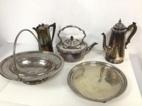 A collection of Epns including coffee pot (23cm x 21cm x 10cm), a kettle, a further coffee pot, a
