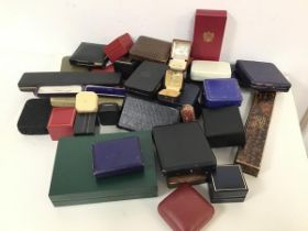 A large assortment of modern and vintage jewellery boxes including those from AK Watters, Edinburgh,