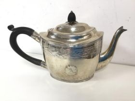 An 1800 London silver teapot, with makers mark PBAEWE (?) to base, with ebonised wood finial and