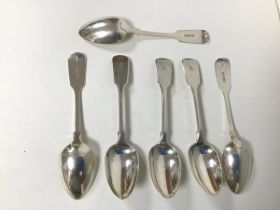 A set of six 1839 London silver spoons, each with intial A, makers mark SHDC (18cm) (combined: 282.