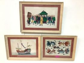 A group of three Chinese rice paper watercolours: the first of carp amidst fronds; the second a
