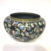 A Chinese cloisonne enamel quatre-lobed jardiniere, 19th century, with gilded copper wires,