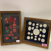 A framed group of Grand Tour style plaster intaglios; together with a framed group of wax seals,