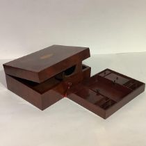 A 19th century inlaid mahogany stationery box, of plain rectangular form, the hinged lid centred