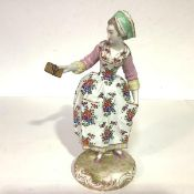 A large French porcelain figure, Max Eugene Clauss, late 19th century, of a girl in floral