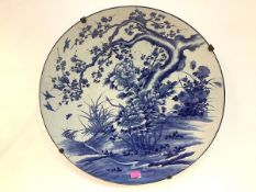 A very large Japanese blue and white porcelain charger, Meiji period, painted with birds around a