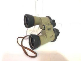A pair of German World War II 7X50 Kriegsmarine U Boat binoculars, by Carl Zeiss, with green metal