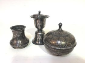 A group of three Bidri silver-inlaid wares, Indian, 19th century, comprising: a vase of waisted