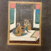 Indian School, The Emperor Jahangir, seated on a divan with two female attendants, gouache and