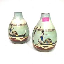 An unusual pair of Royal Doulton Series Ware Venice pattern vases, each painted with a gondola by