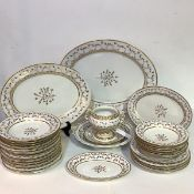 A rare Flight Barr & Barr, Worcester partial dinner service, early 19th century, in an Angouleme