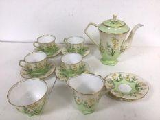 A 1930s Aynsley china coffee set, including three demi tasse cups, six saucers, sugar bowl, milk jug