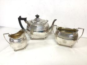 A Victorian London silver tea service including teapot, milk jug and sugar bowl, all with gadroon