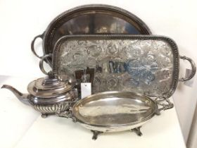 An assortment of Epns including teapot, footed two handled bowl and two drinks trays (teapot: