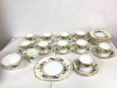 A 1930s/40s Adderley Ware tea service including ten teacups (each: 7cm x 8.5cm), twelve saucers,
