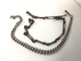 Two silver albert chains (combined: 113.09g)