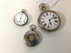 A London silver Victorian pocket watch, a half hunter pocket watch engraved Sterling silver to
