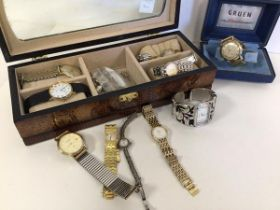 A collection of gentleman's and lady's watches, including one marked 'Rolex', Gruen, Rotary etc. (