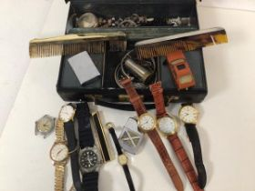A mixed lot including gentleman's and lady's wristwatches, lighters, silver backed comb and silver